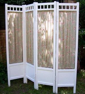 pretty antique folding screen / room divider
