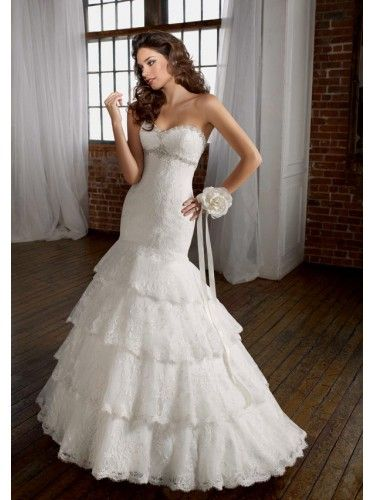 Lace Sweetheart Embroidered Bodice Mermaid Wedding Dress