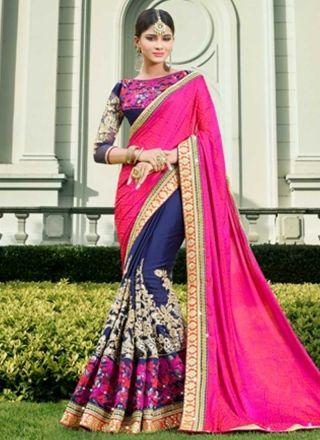 Blue Magenta Embroidery Work Jacquard Georgette Designer Wedding Half Sarees http://www.angelnx.com/Sarees