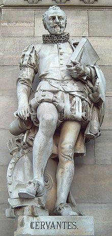 Estatua en su honor situada en La Biblioteca Nacional en Madrid