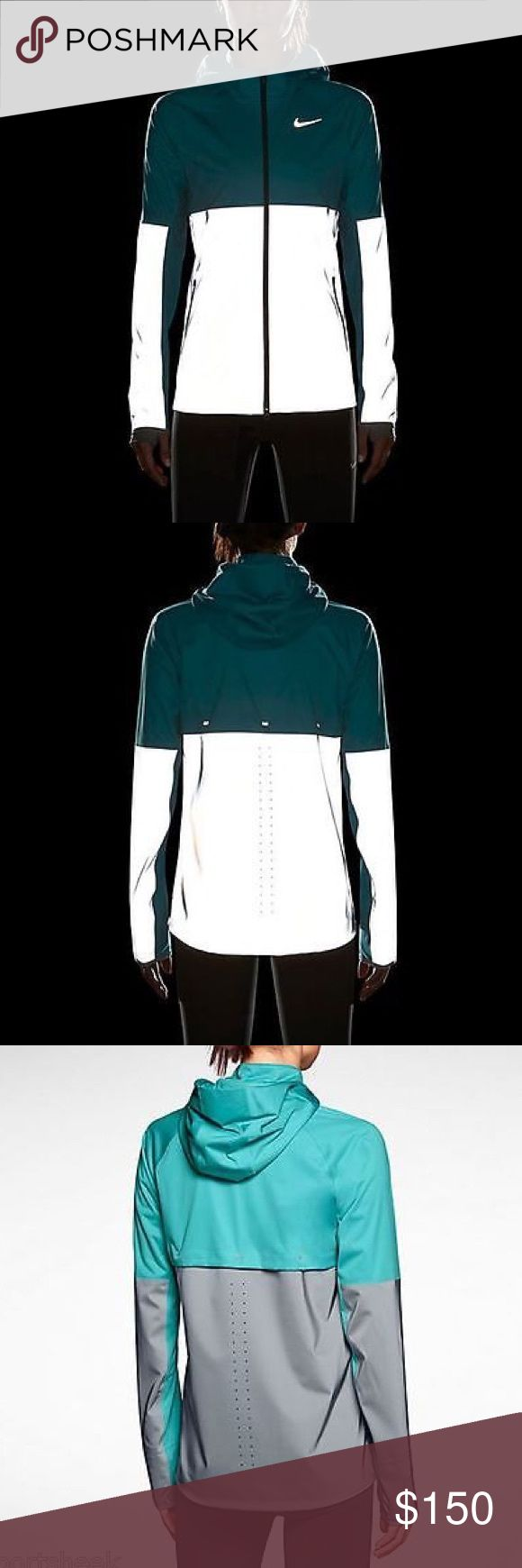 Nike Shield Flash Reflective Running Jacket Brand new without tags. Jacket is teal and reflective. Water resistant and blocks wind. More photos coming soon, but feel free to purchase if ready! Nike Jackets & Coats