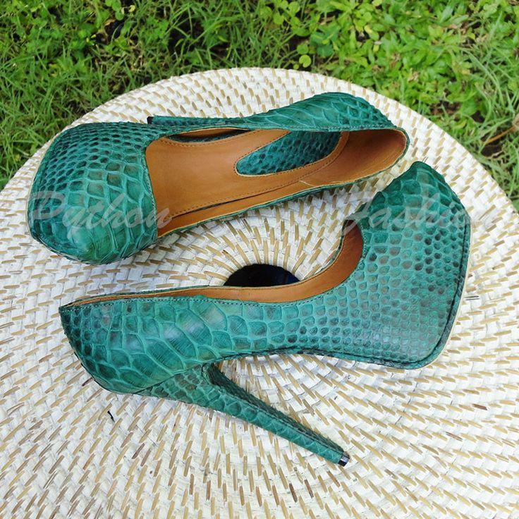 Вечерние туфли из питона на высоких каблуках Meralie | Python Fashion