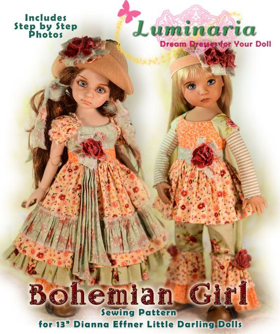 "Printed Dress Pattern Fits 13/"" Dianna Effner Little Darling My Meadow Avery"
