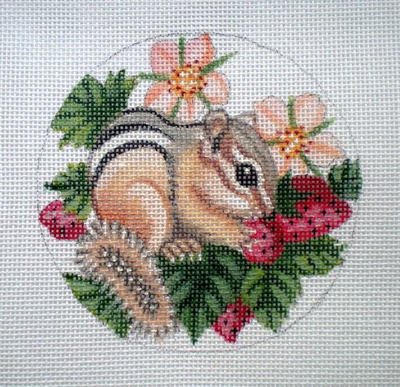 Handpainted Baby Chipmunk and Strawberries Needlepoint by colors1