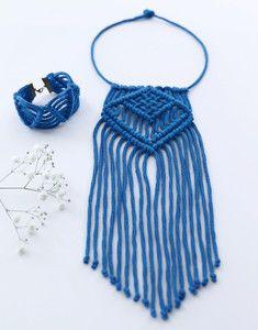 parure collier et bracelet macramé femme