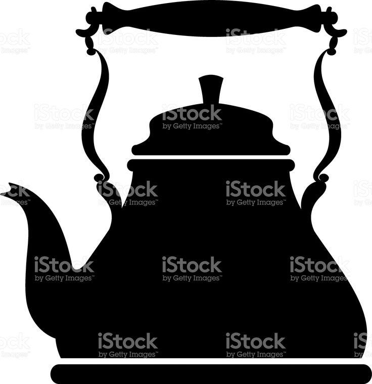 Силуэт винтажный чайник Сток Вектор Стоковая фотография