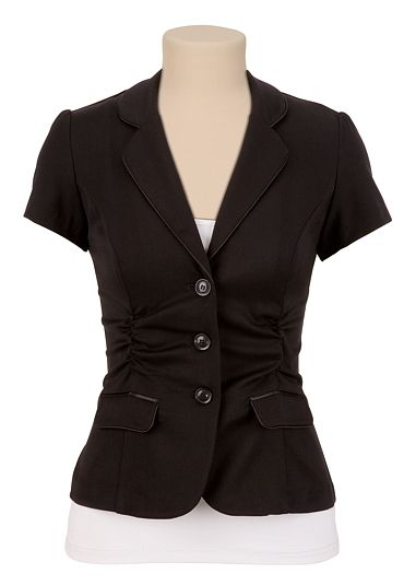 short sleeve ruched blazer available at maurices
