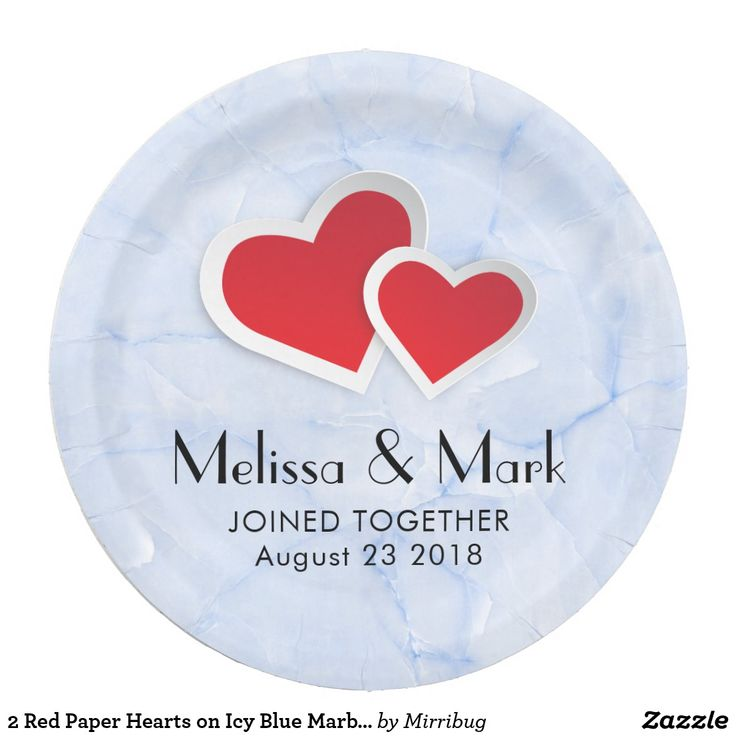 2 Red Paper Hearts on Icy Blue Marble Wedding
