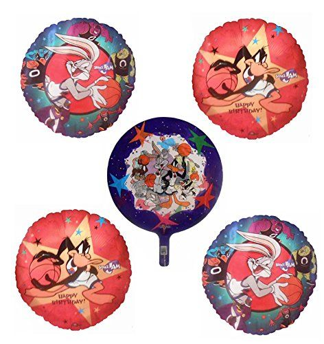 5 Space Jam Mylar Balloons - Bouquet Bundle of 5 Space Jam Balloons From 1998