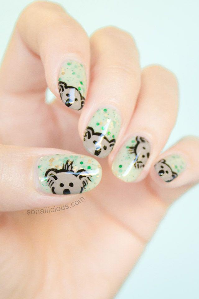 Cute Koala Australia Day Nails - here's tutorial: http://sonailicious.com/cute-koala-australia-day-nails-tutorial/ #koala #australiaday