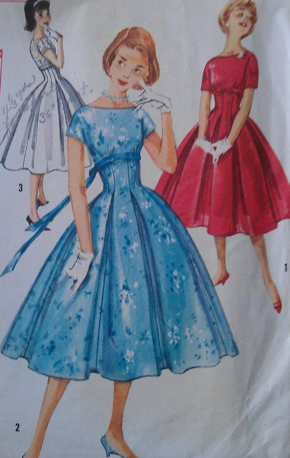 Vintage 50s Empire Waist Bateau Fitted Pleat Skirt Sabrina Full Skirt Party Dress Sewing Pattern 2478 B34