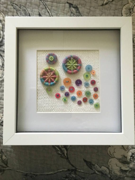 Colourful Dorset Buttons  Knitted Artwork