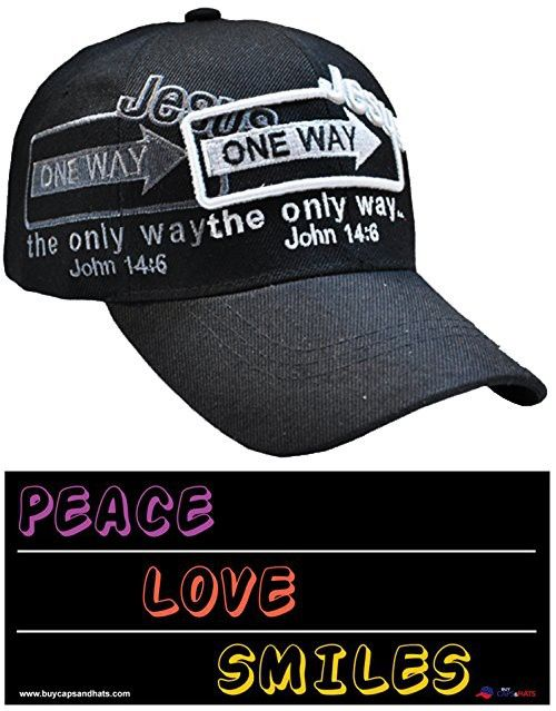 0d359d00ebf Jesus the Only Way One Way Sign Christian Baseball Cap BLACK Hat I Love  Jesus Adjustable One Size Fit Most Heads Men Women and Older Teens  Religious ...