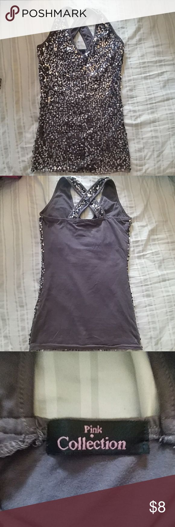 Tang top Grey tank top  Sequined fabric Size S Normal wear Tops Tank Tops