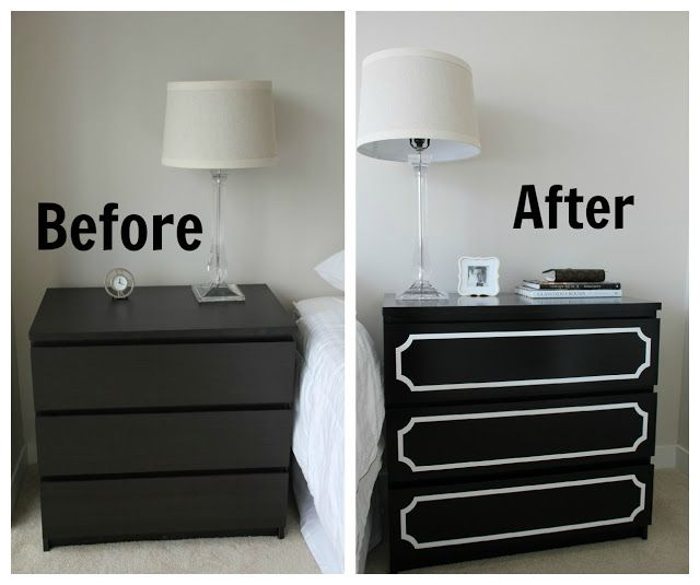 :::I have night stands that have this drawer detail; liking the black and white. Perhaps navy with silver or silver with white.:::