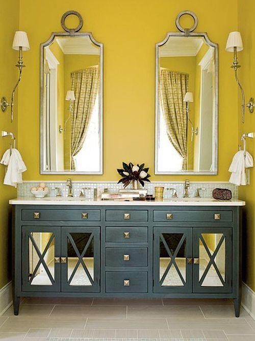 yellow + gray: Wall Colors, Bathroom Design, Colors Combos, Yellow Wall, Yellow Bathroom, Vanities, Bathroom Mirror, Bathroom Ideas, Master Bathroom