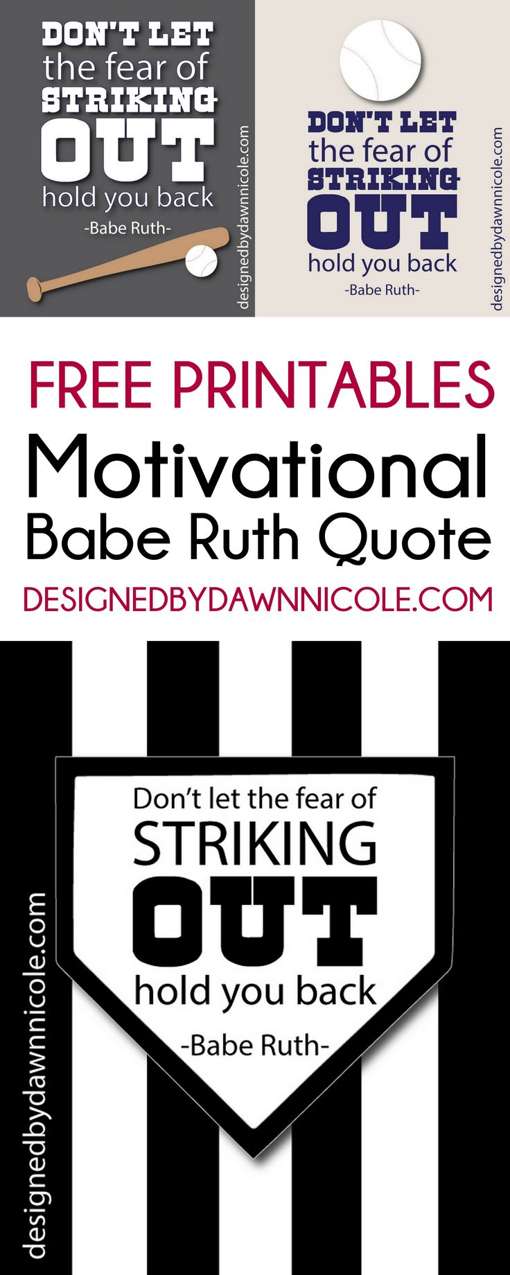 Persistence Motivational Quotes: FREE Printable: Motivational Babe Ruth Quote