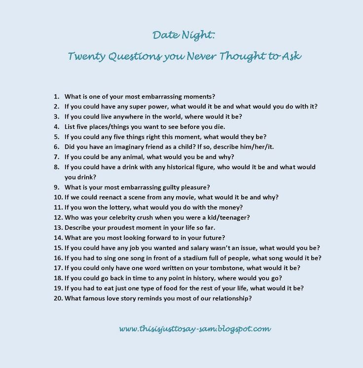 Twenty good questions to ask your partner on your first date