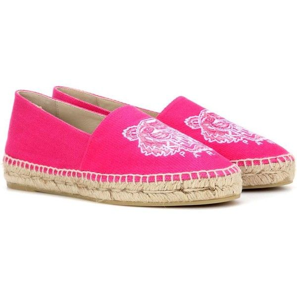 Kenzo Embroidered Espadrilles ($155) ❤ liked on Polyvore featuring shoes, sandals, espadrilles, pink, embroidered shoes, hot pink sandals, espadrille shoes, kenzo and espadrille sandals
