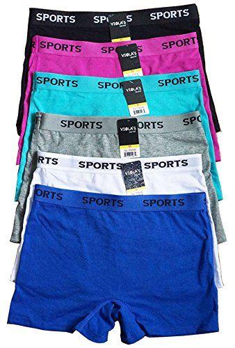 af6686c2c Iheyi 6 pieces Spandex Women Underwear Box Cotton Boyshorts Sports Panty S  M L XL (8896 8898)