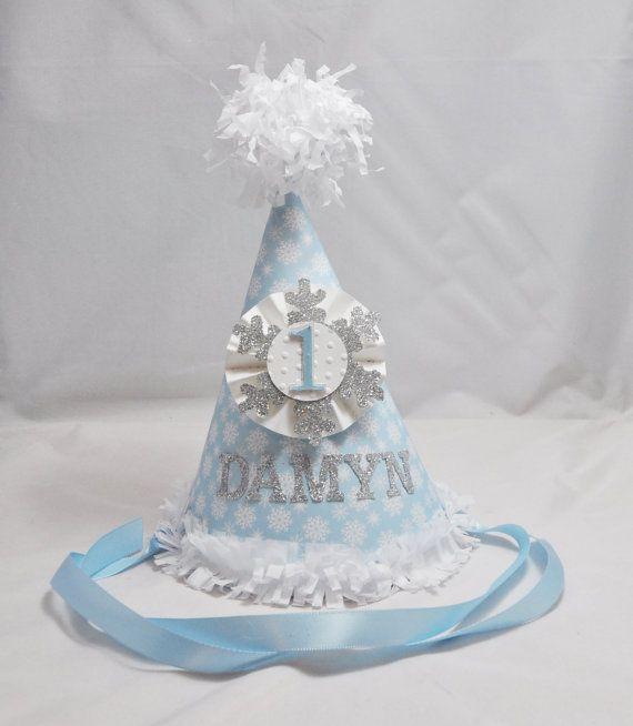 Boy Snowflake 1st Birthday Party Hat by CardsandMoorebyTerri