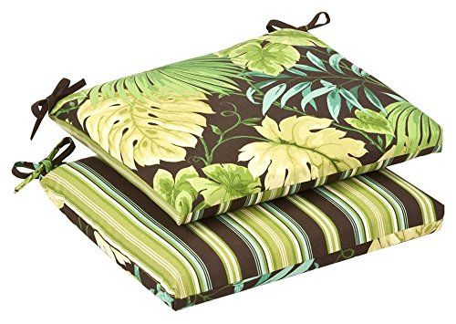 Special Offers - Cheap Pillow Perfect Indoor/Outdoor Green/Brown Tropical/Striped Reversible Seat Cushion Squared 2-Pack - In stock & Free Shipping. You can save more money! Check It (January 09 2017 at 07:20PM) >> http://gardenbenchusa.net/cheap-pillow-perfect-indooroutdoor-greenbrown-tropicalstriped-reversible-seat-cushion-squared-2-pack/