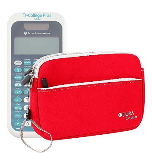 Housse en néoprène rouge pour Texas Instruments TI-College Plus Calculatrice scientifique + poignée et poche frontale DURAGADGET –…