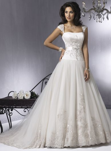 """Maggie Sottero-""""Kara"""". It would be perfect if the ribbon we around the drop waist instead of natural waist."""