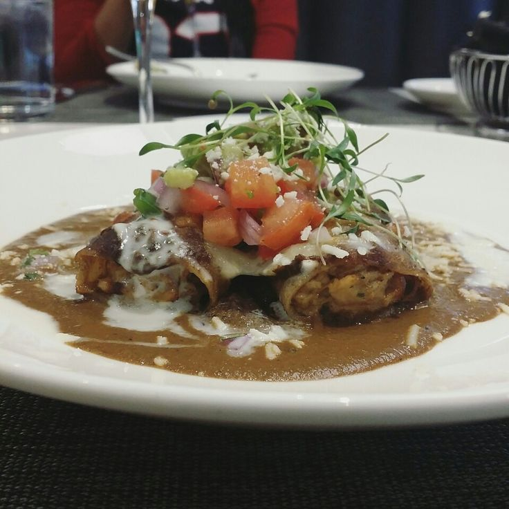 ■ Smoked Turkey Enchiladas ■ Evil Twin Stout Mole   Black Beans   Crema Fresca   Pico de Gallo   Avocado #mexicanfood #lunchtime