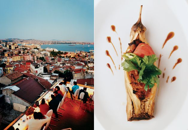 Nice Bosphorus view (and tasty-looking salad) from the Feb '12 GQ story on Istanbul's food scene.