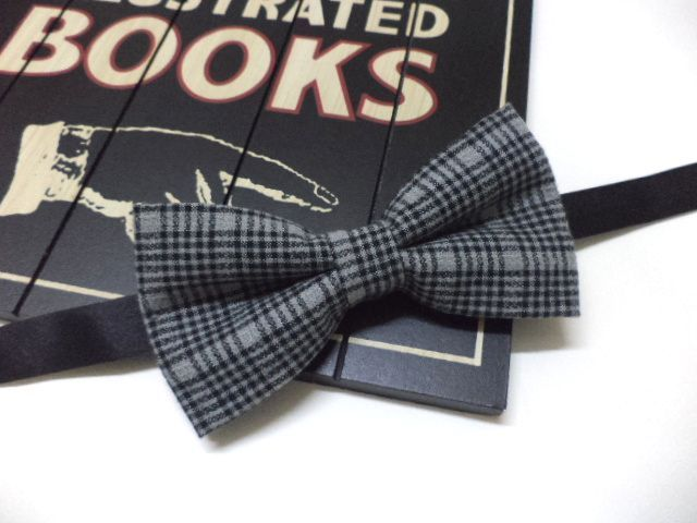 men's bow tie, grey plaid bow tie w EveryJobCounts na DaWanda.com