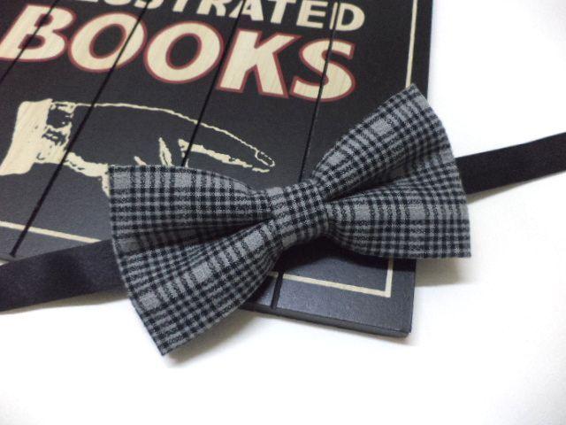 men's bow tie, grey plaid bow tie w EveryJobCounts na DaWanda.com