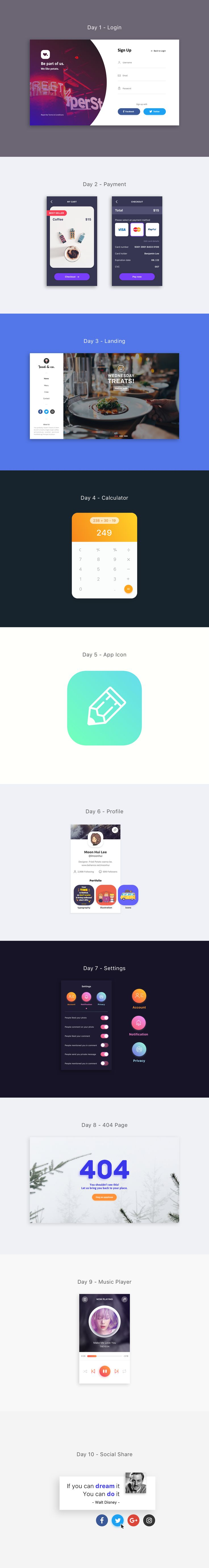 DAILY UI : DAY 1 TO 10