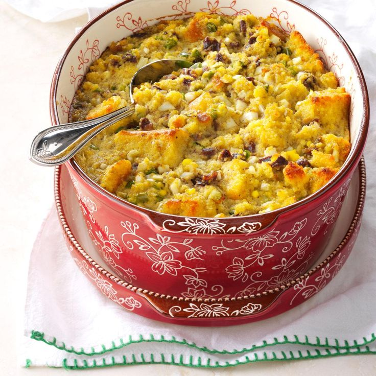 Southern Corn Bread Dressing Recipe -This recipe makes a rather large dish. It was made this way because of the large families it had to feed. I came from a very poor family from Mississippi and learned to stretch the food we had. This is one of my favorite holiday side dishes. —Margaret E. Kendall, McConnelsville, Ohio
