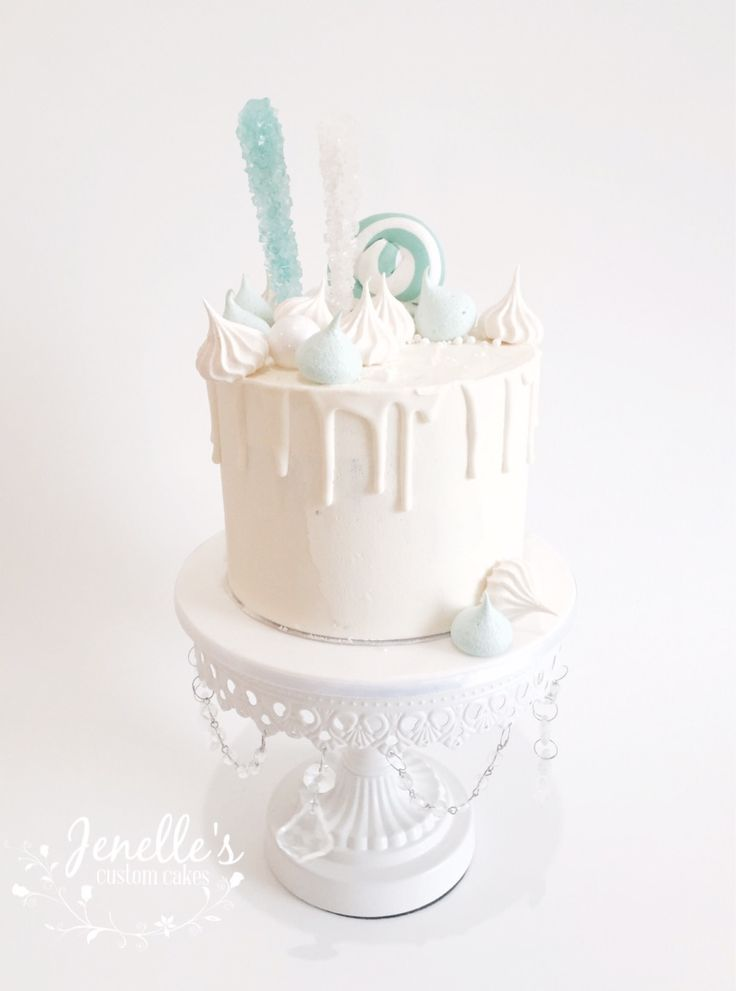 Tiffany blue drip cake. By Jenelle's Custom Cakes.
