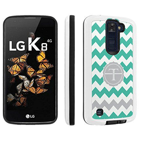 Buy LG [Phoenix 2] [K8] [ESCAPE 3] Armor Case [Skinguardz] [White/Black] Shock Absorbent Hybrid - [Mint Chevron T Monogram] for LG [Phoenix 2 K350] [LG K8 K371] [LG ESCAPE 3 K373] [LG US375] NEW for 10.97 USD | Reusell