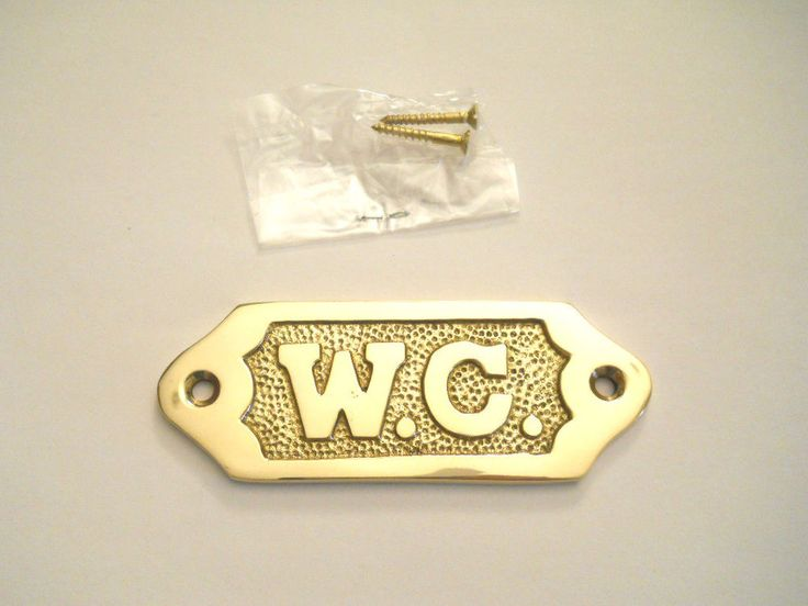 Decorative Home Solid Brass W.C. Door Sign Water Closet Wall Hanging Plaque  New