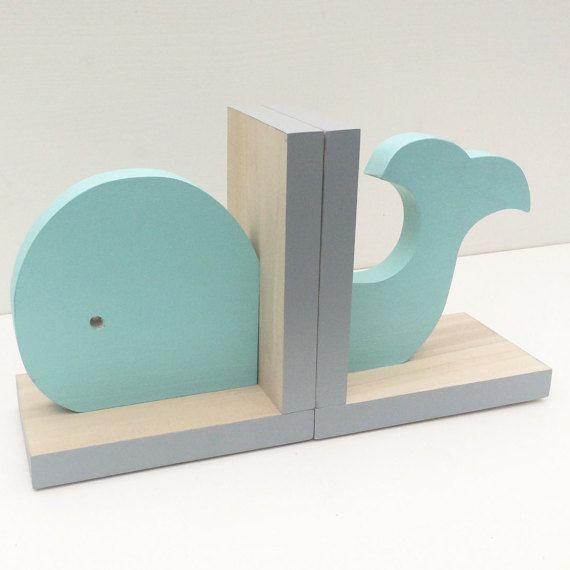 Aqua Whale Bookends, Nautical Room Decor, Nautical Nursery Decor