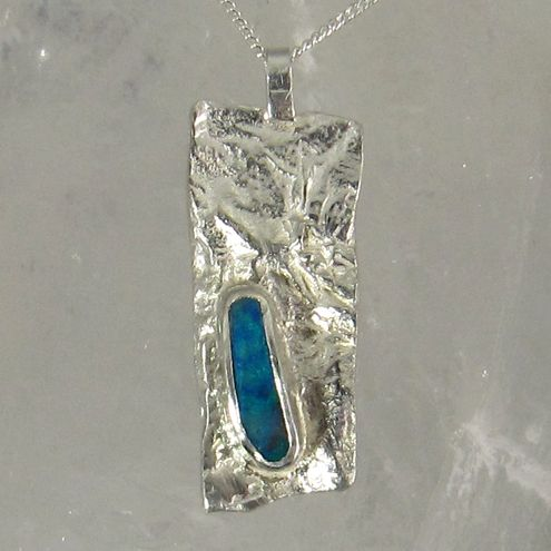 Reticulated Silver Pendant with Blue Green Boulder Opal £92.00 More