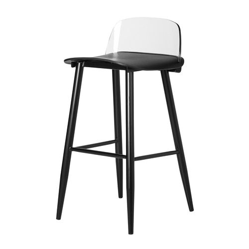 Nerd Replica Bar Stool With Clear Back In Black Stool Bar