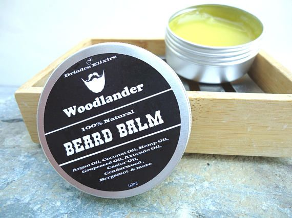 Herbal beard balm, Hair and skin care for men, Softening beeswax salve for coarse and dry hair, All natural ingredients, Woodsy, forest smell, Handmade with love Christmas and birthday gift for Dad, boyfriend and best friend  https://www.etsy.com/listing/520327360