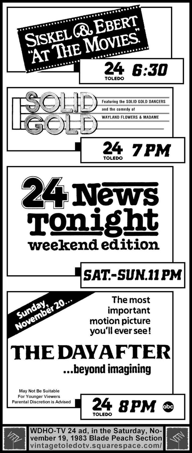Vintage Toledo TV - WDHO-TV & WNWO-TV24 Print ads - Saturday & Sunday Night Shows (Sat 11/19/83 ad)