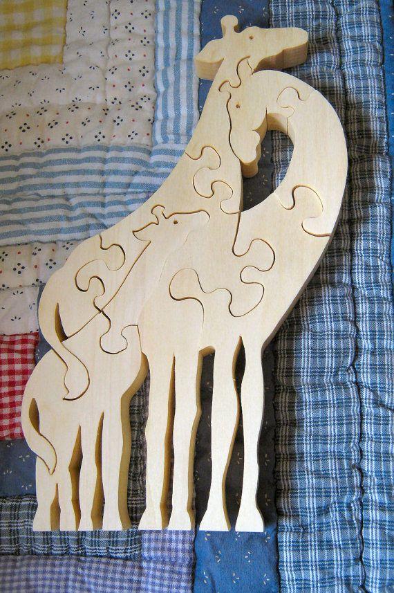 ZWEI Giraffen aus Holz Puzzle