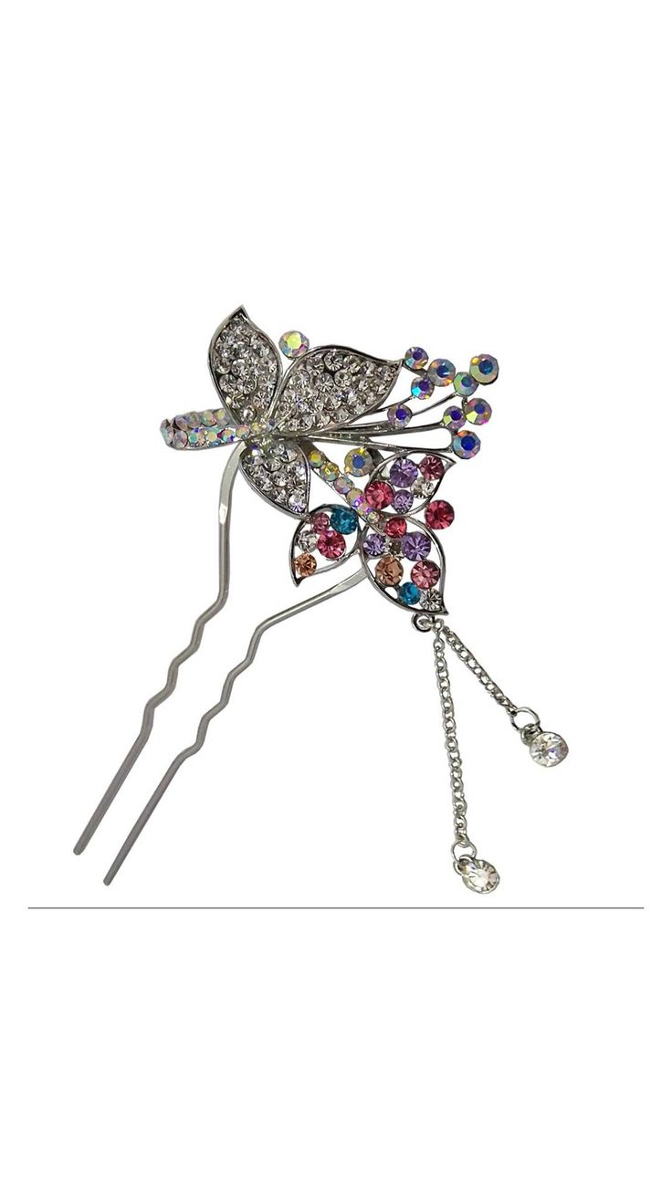 Completely Handmade Multicolor Stone Work Silver Color Hair Pin