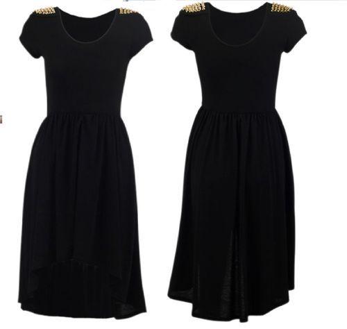 NW AW12 Womens Studded Shoulder Gothic Trend Dip Hem Hi Lo Dress Top 8 10 12 14