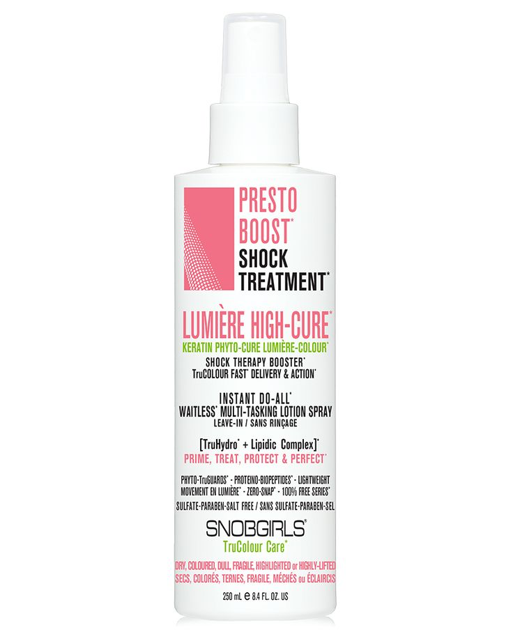 Fully versatile, each PRESTOBOOST Shock Treatment Leave-In Spray can be used anytime on wet or dry hair as part of your daily hair care treatment, styling & perfecting routine at home or on the move.  Up to 250 X treatments per bottle.  Blends perfectly, complements and helps enhance the performance of other products. Versatile, it may also be used as a styling and finishing aid.