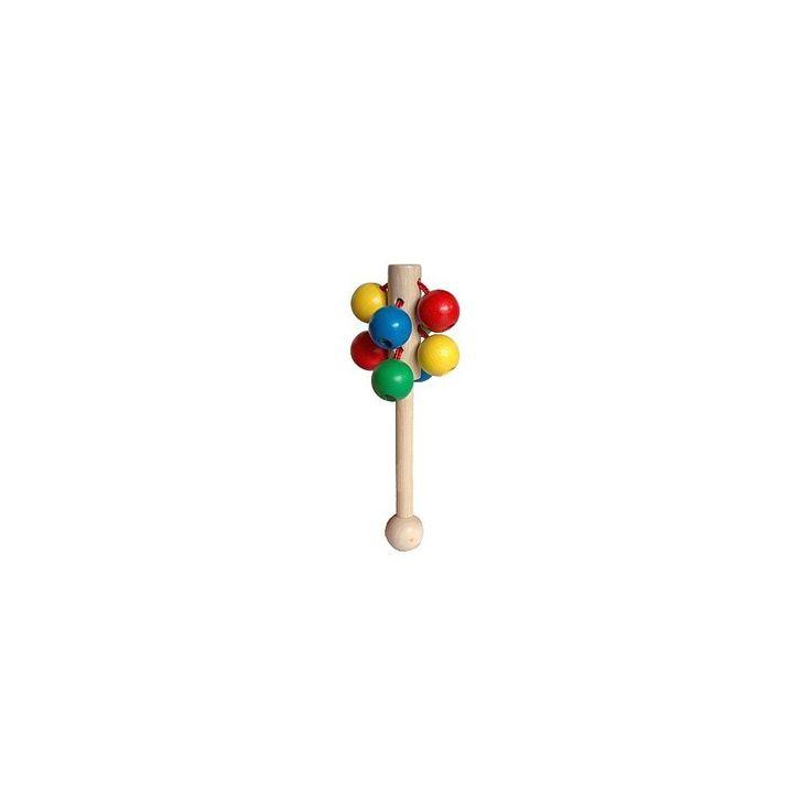 Barevné dřevěné kuličky na tyčce.