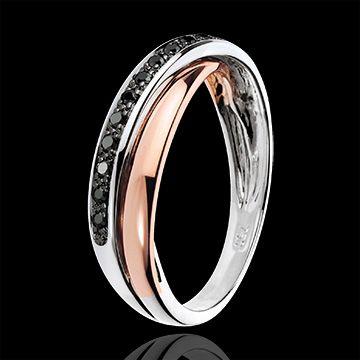 Anneau Saturne Diamant - diamants noirs - or blanc et or rose 18 carats : bijoux Edenly