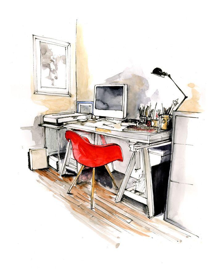 Bestudeer aquarel technieken, om je marker techiek te verbeteren. Caroline Andrieu