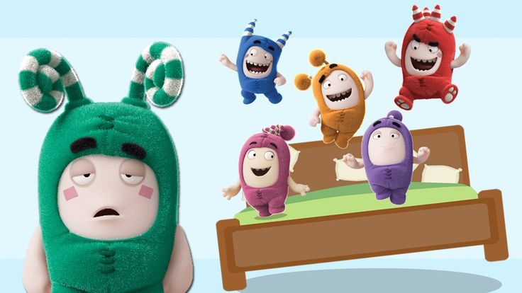 Five Little Oddbods Jumping On The Bed | Five Littles Monkey Jumping On ...